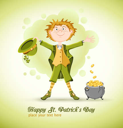 three leaved: Saint Patrick day  Funny leprechaun with magic pot of gold coins  On light green background