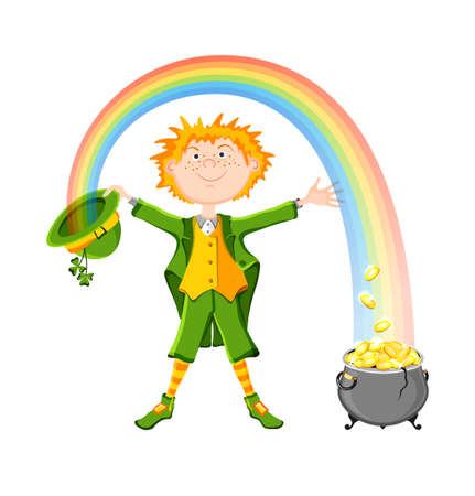 three leaved: Saint Patrick day  Leprechaun in green clothes with lucky pot of gold coins  Isolated on white background  Vector illustration  EPS10 and transparency Illustration