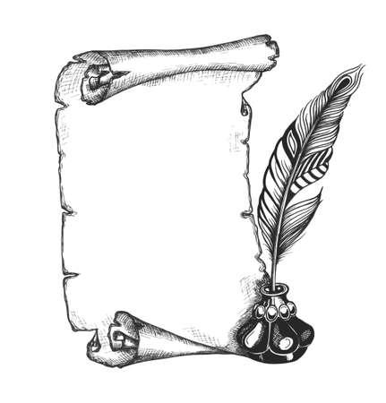 Krása peří a prázdný svitek papíru. Quill pen, zdobené kalamář. Kronikář set. Vektorové ilustrace. EPS10