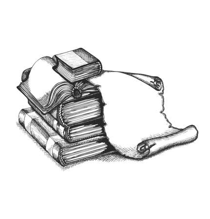 dean: Books and old scroll paper. Education set.