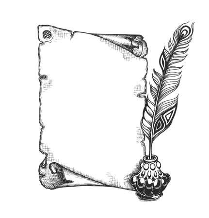 cisnes: Pluma de belleza y de desplazamiento en blanco. Quill pluma, tintero decorado. Establece Cronista. Vectores
