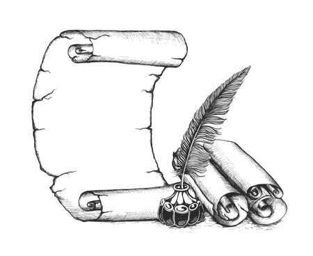 Schrijver set symbolen: pen ganzenveer, scroll, inktpot.