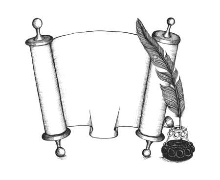 inkwell: Torah set symbols: quill pen, Torus scroll, beauty inkwell.    Illustration