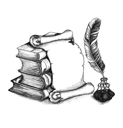 quill pen: Academic and education set: books, scroll, pen (feather), and beauty inkwell.