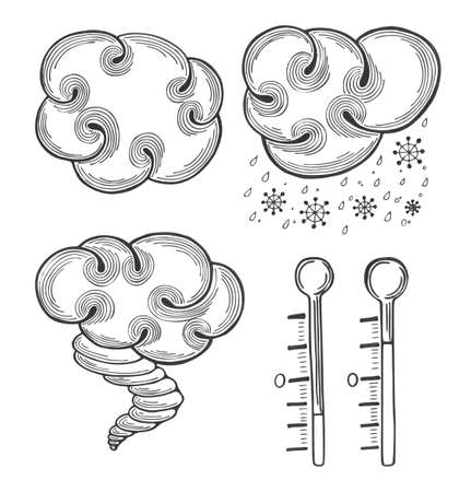 spindrift: Icons set for other kind of weather and seasons. Cloudy, snow, hurricane, frost.