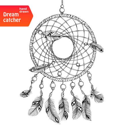 dream: 印度捕夢網羽毛。美國本土的風格。被隔絕在白色背景。矢量插圖。