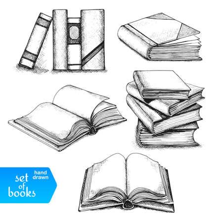 Knihy nastavit. Otevřené a uzavřené knihy, knihy o polici, naskládané knihy a jediná kniha na bílém pozadí.