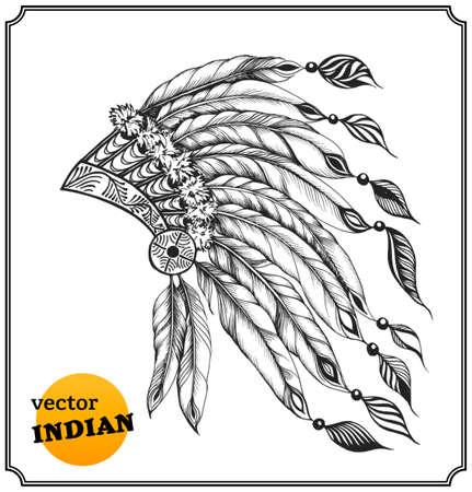 apache: Nativo tocado cacique americano con plumas. Tarjeta india en un estilo de dibujo. Aislado en el fondo blanco. Ilustraci�n del vector.