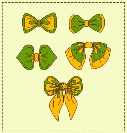 Set of bows. Decorative elements for design. Vector illustration. Illustration