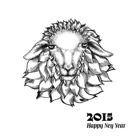 Chinese zodiac sign, goat in a stylized style. Symbol of 2015 New Year. Isolated on white background. Vector Illustration.