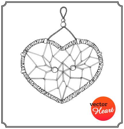 atrapasueños: Dreamcatcher étnica en forma de corazón. Concepto de amor en el Día de San Valentín en un estilo de dibujo. Aislado en el fondo blanco. Ilustración del vector.
