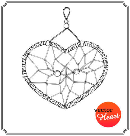 dreams: Ethnic dreamcatcher in form of heart. Love concept on Valentines Day in a sketch style. Isolated on white background. Vector Illustration. Illustration