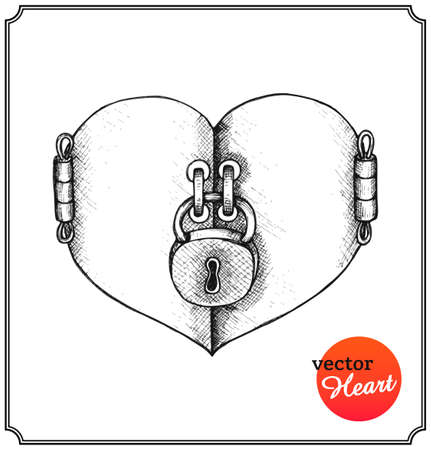 Concept heart on Valentines Day. Metallic lock in a sketch style. Isolated on white background. Vector Illustration.