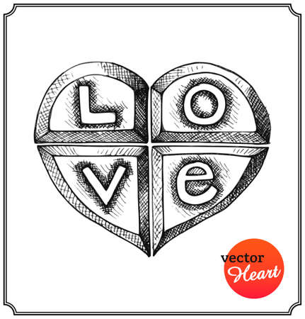 Metallic heart engraved with letters in a sketch style. Love concept on Valentines Day. Isolated on white background. Vector Illustration. Vector