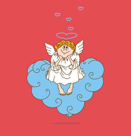 Angel in love sits on cloud in form of heart. Cute valentines day card. Vector illustration.