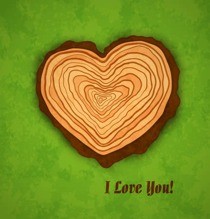 Concept wooden heart on green background with texture. Decoration Valentines Day card. Vector illustration. Illustration
