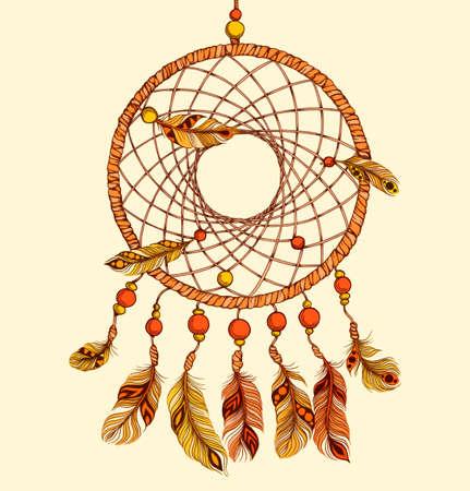 Atrapasueños étnico con plumas. Estilo indio americano. Aislado en el fondo blanco. Ilustración del vector. Ilustración de vector