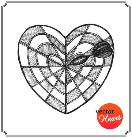 Heart in form target of defeat arrow in the goal. Love concept on Valentines Day in a sketch style. Isolated on white background. Vector Illustration.