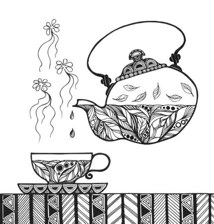Teapot and cup with steam standing on table. Stylized card in sketch style. Vector illustration isolated on white background. Ilustração