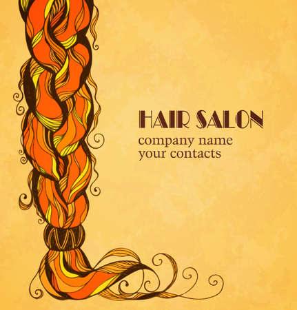 Braided hair card in sketch style. Vector illustration. Stok Fotoğraf - 35891613