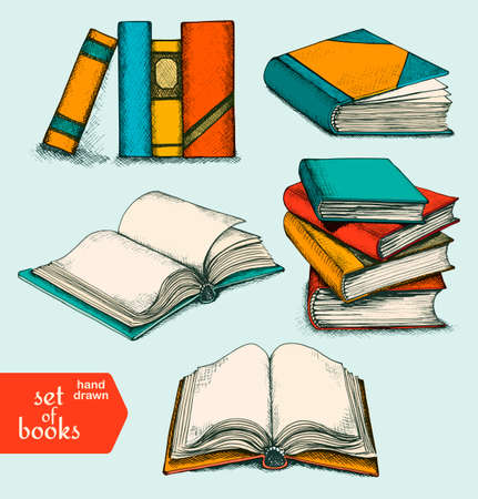 single shelf: Sketch books set. Opened and closed books, books on the shelf, stacked books and single book. Vector illustration.