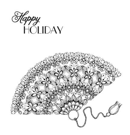 vintage lace: lace ornament fan in hand-drawn style. Invitation card card.