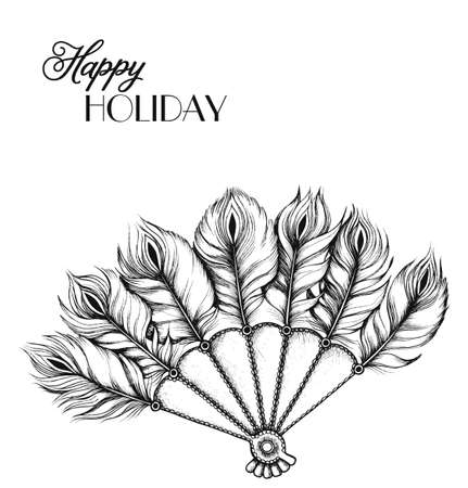 Ethnic tribal fan with feathers in hand-drawn style. Invitation card card.