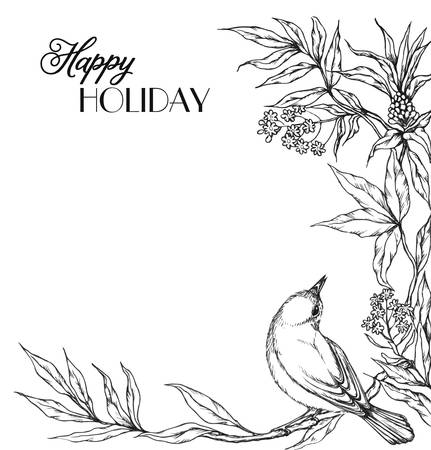 handdrawn: Bird on branch with leaves and flowers. Elegance invitation in hand-drawn style.