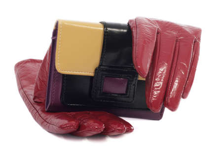 leather gloves  and wallet, close-up, isolated on white background photo