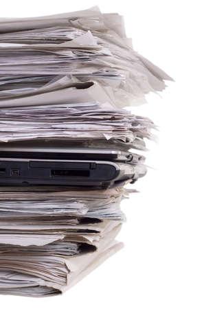documentation:  laptops, documentation, close-up, isolated on white background Stock Photo
