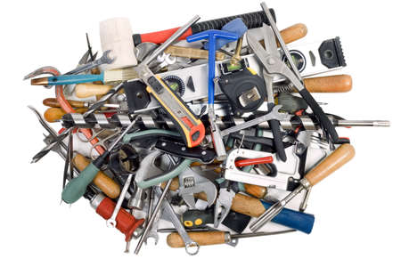 Heap of the tools, the isolated white background Stock Photo - 5063262