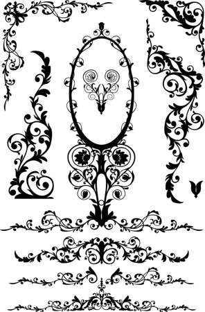 vector lines: decorative elements 3, isolated on white background