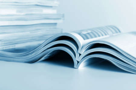 reports: Open journals lie for viewing Stock Photo