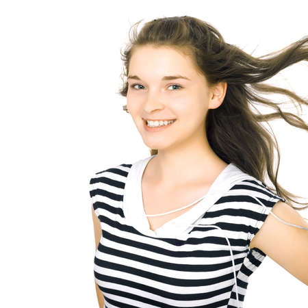 Portrait of the student on the isolated white background photo
