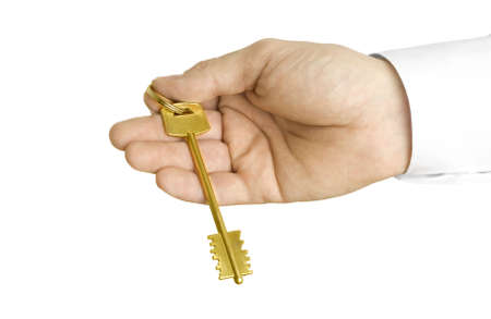 Handing over the key. Close-up photo