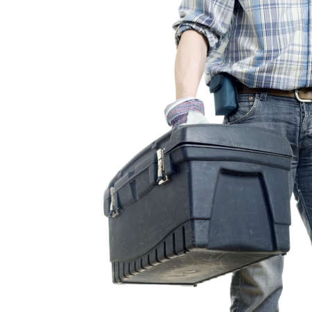 The builder with a box for instruments. The isolated white background Stock Photo