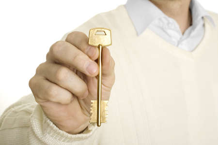 Handing over the key. Close-up