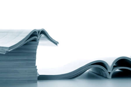 Open journals lie for viewing Stock Photo