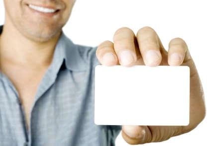 Carte de visite vide dans une main Banque d'images