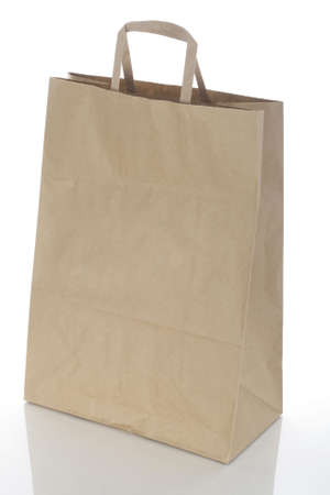 Paper bag for products on a white background photo