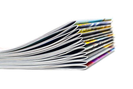 Pile of magazines on the isolated white background