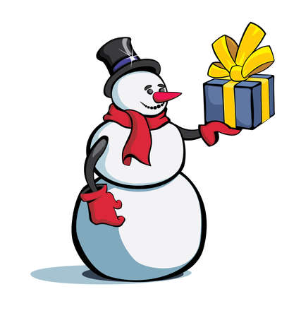 The snowman with a gift in a hand on a white background Stock Vector - 8153729
