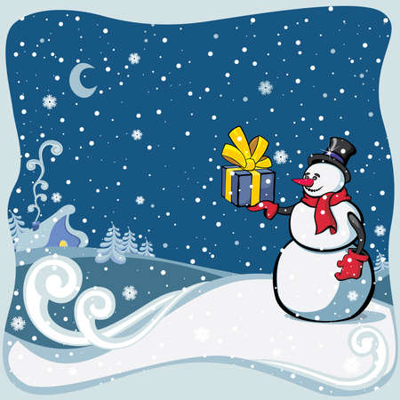 The snowman holds a gift in a hand Stock Vector - 8153743