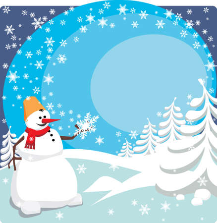 The snowman holds the big snowflake in a hand Stock Vector - 8153742