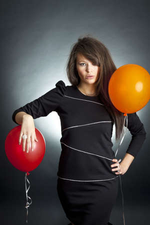 The young beautiful woman with air spheres Stock Photo - 8153767