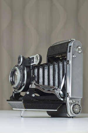 folding camera: Old folding camera. Old-fashioned Stock Photo