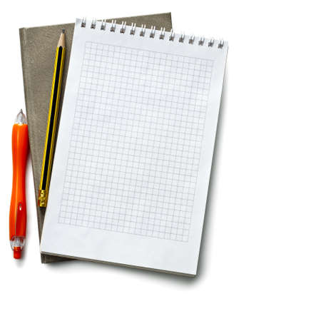Open notebook on the isolated white background photo