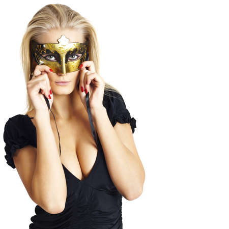 The young woman with a mask on the person. White background photo