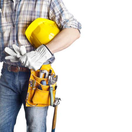 menuisier: Le constructeur sur le fond blanc isol�