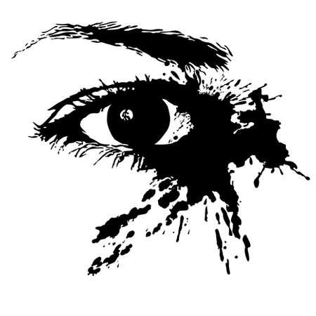 Les yeux de près sur le fond blanc isolé Vecteurs